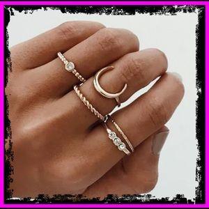 5PC 9ct Gold CZ Bohemian Moon Charm Midi Rings